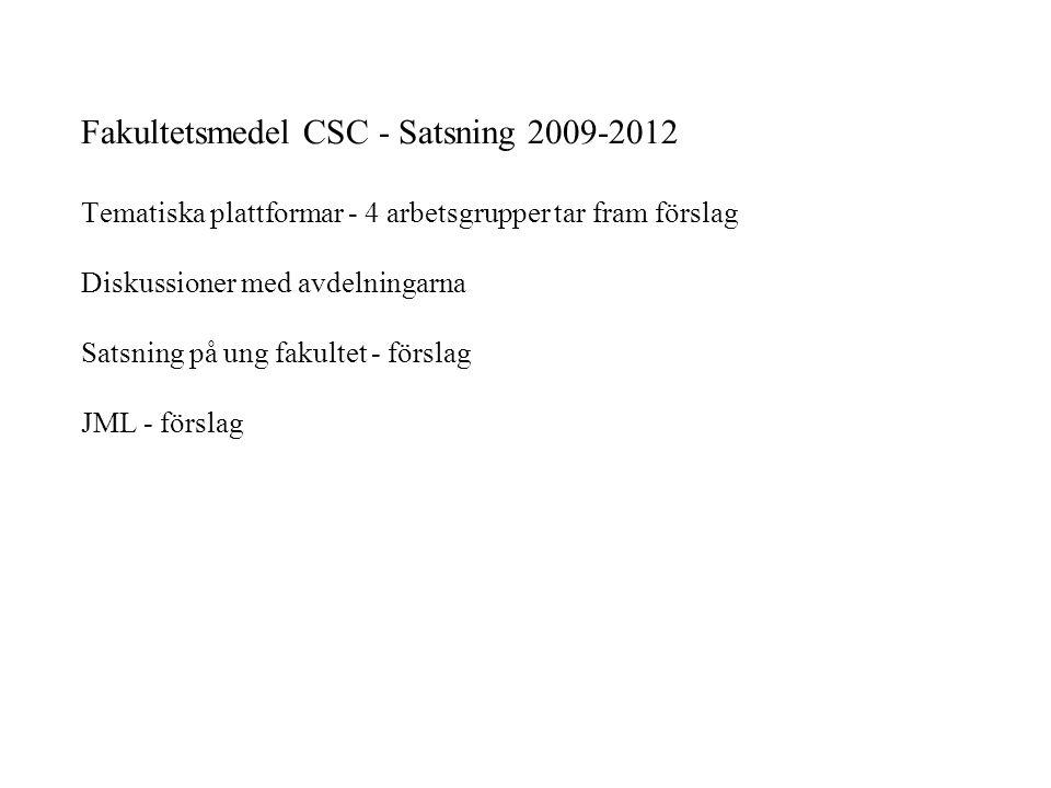 Fakultetsmedel CSC - Satsning 2009-2012 Tematiska plattformar - 4 arbetsgrupper tar fram förslag Diskussioner med avdelningarna Satsning på ung fakultet - förslag JML - förslag
