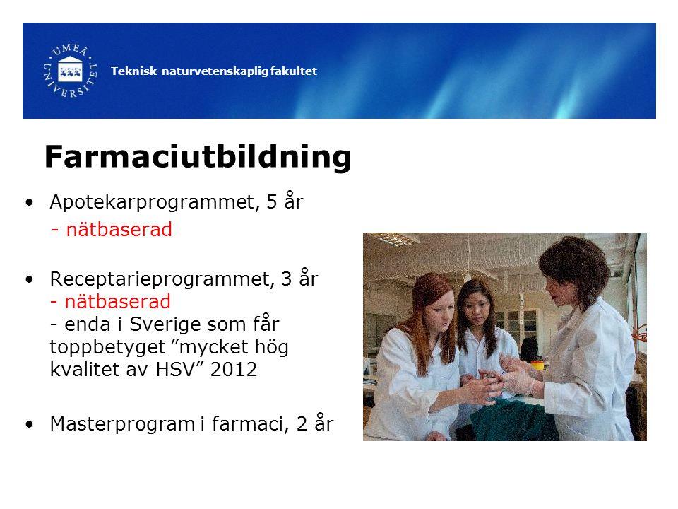 Teknisk-naturvetenskaplig fakultet Farmaciutbildning Apotekarprogrammet, 5 år - nätbaserad Receptarieprogrammet, 3 år - nätbaserad - enda i Sverige so