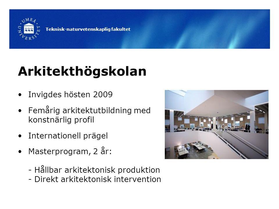 Teknisk-naturvetenskaplig fakultet Arkitekthögskolan Invigdes hösten 2009 Femårig arkitektutbildning med konstnärlig profil Internationell prägel Masterprogram, 2 år: - Hållbar arkitektonisk produktion - Direkt arkitektonisk intervention
