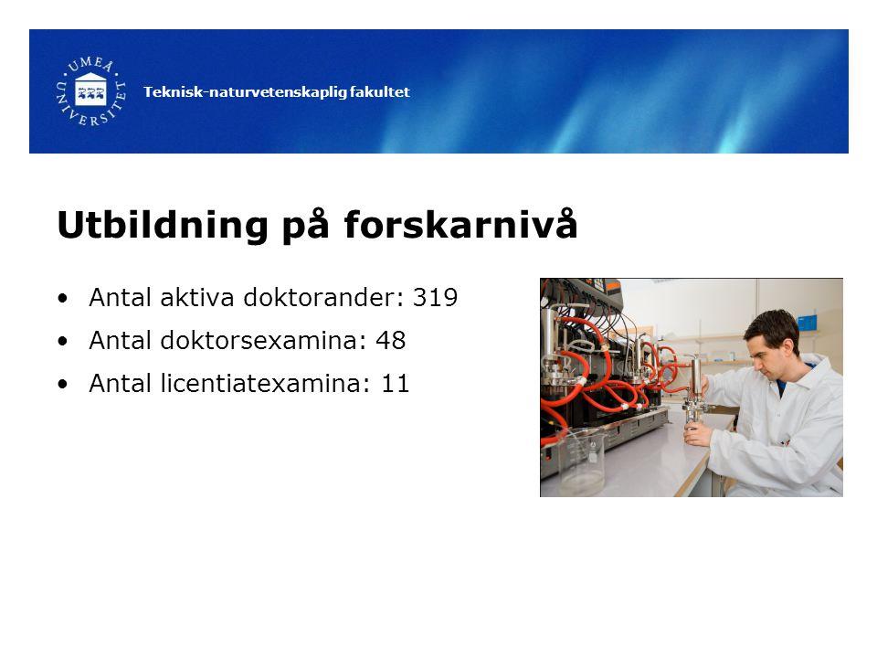 Teknisk-naturvetenskaplig fakultet Utbildning på forskarnivå Antal aktiva doktorander: 319 Antal doktorsexamina: 48 Antal licentiatexamina: 11