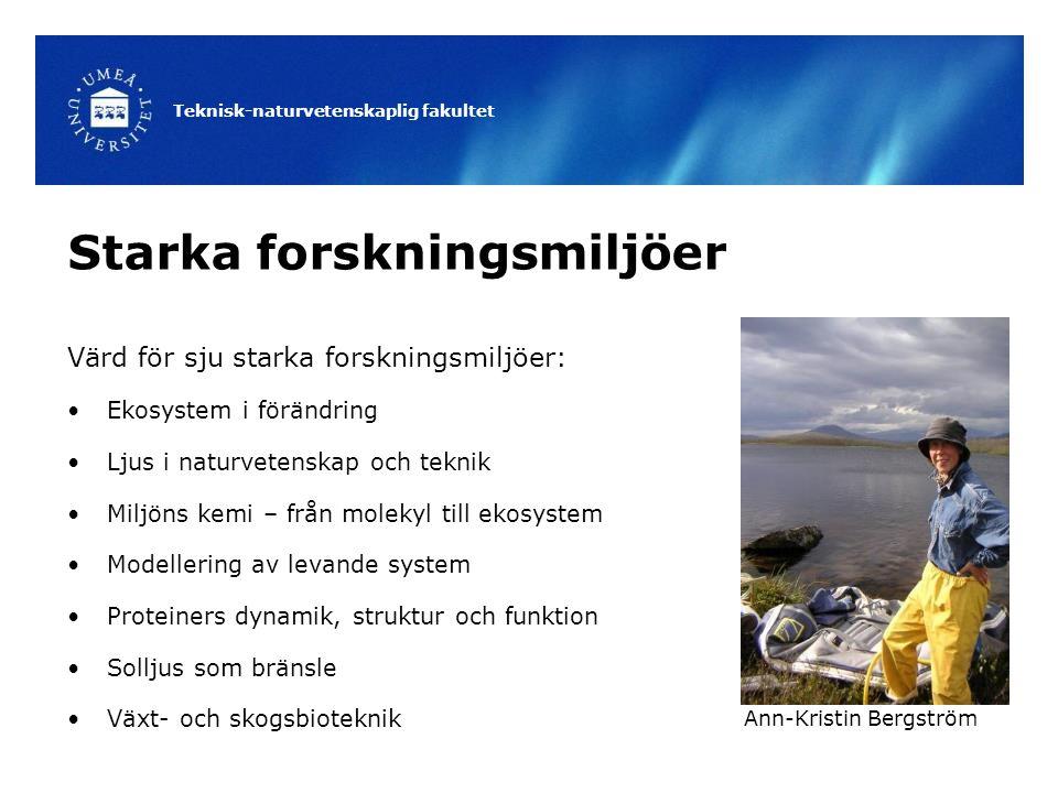 Teknisk-naturvetenskaplig fakultet Starka forskningsmiljöer Värd för sju starka forskningsmiljöer: Ekosystem i förändring Ljus i naturvetenskap och teknik Miljöns kemi – från molekyl till ekosystem Modellering av levande system Proteiners dynamik, struktur och funktion Solljus som bränsle Växt- och skogsbioteknik Ann-Kristin Bergström