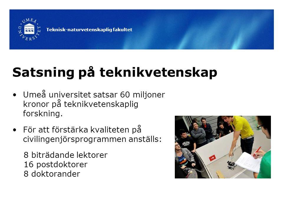 Teknisk-naturvetenskaplig fakultet Satsning på teknikvetenskap Umeå universitet satsar 60 miljoner kronor på teknikvetenskaplig forskning.