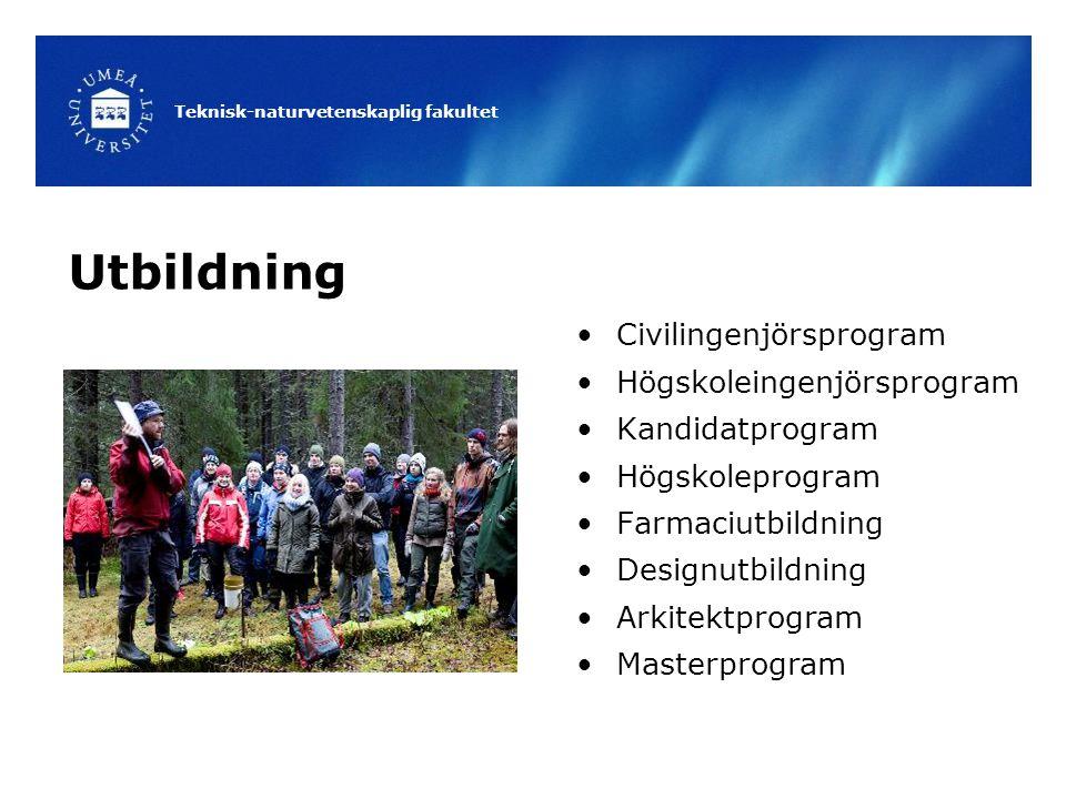 Teknisk-naturvetenskaplig fakultet Utbildning Civilingenjörsprogram Högskoleingenjörsprogram Kandidatprogram Högskoleprogram Farmaciutbildning Designutbildning Arkitektprogram Masterprogram