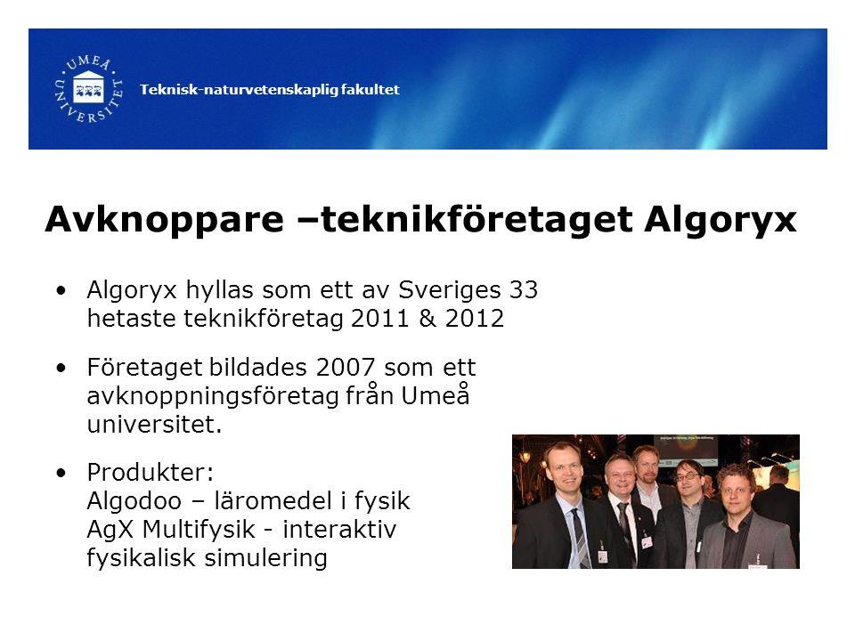Teknisk-naturvetenskaplig fakultet Avknoppare –teknikföretaget Algoryx Algoryx hyllas som ett av Sveriges 33 hetaste teknikföretag 2011 & 2012 Företaget bildades 2007 som ett avknoppningsföretag från Umeå universitet.