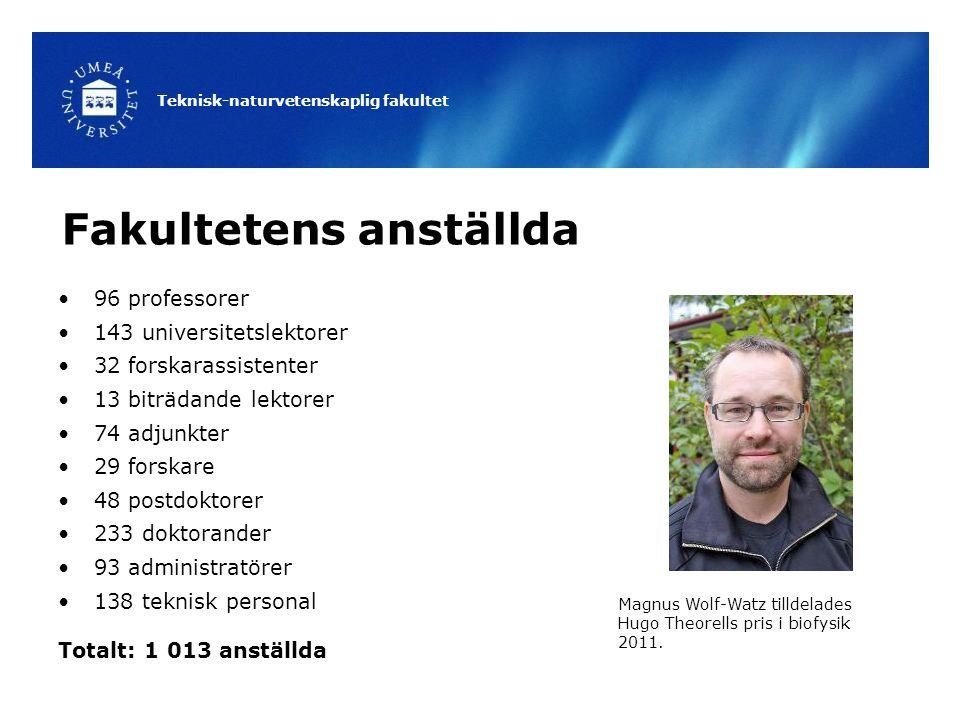 Teknisk-naturvetenskaplig fakultet Fakultetens anställda 96 professorer 143 universitetslektorer 32 forskarassistenter 13 biträdande lektorer 74 adjun