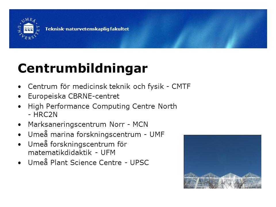 Teknisk-naturvetenskaplig fakultet Centrumbildningar Centrum för medicinsk teknik och fysik - CMTF Europeiska CBRNE-centret High Performance Computing Centre North - HRC2N Marksaneringscentrum Norr - MCN Umeå marina forskningscentrum - UMF Umeå forskningscentrum för matematikdidaktik - UFM Umeå Plant Science Centre - UPSC