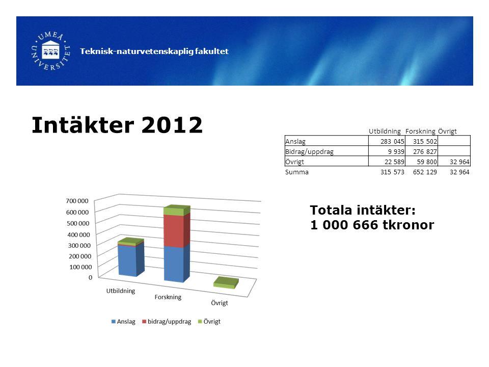 Teknisk-naturvetenskaplig fakultet Intäkter 2012 Totala intäkter: 1 000 666 tkronor UtbildningForskningÖvrigt Anslag283 045315 502 Bidrag/uppdrag9 939