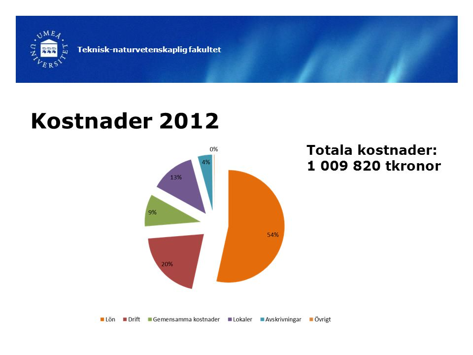 Teknisk-naturvetenskaplig fakultet Kostnader 2012 Totala kostnader: 1 009 820 tkronor