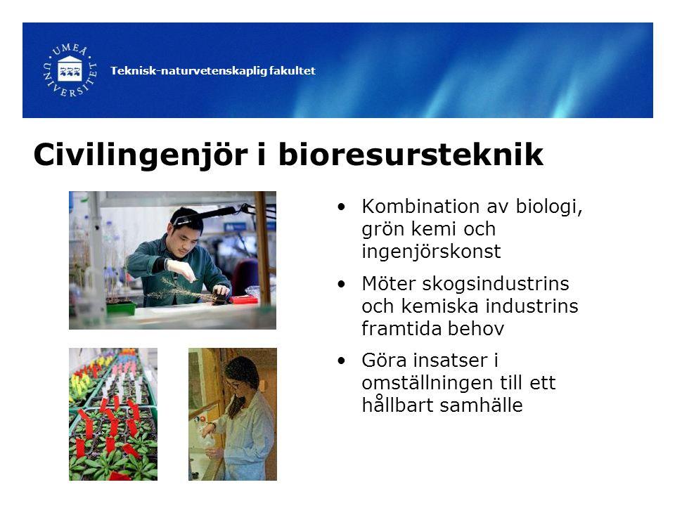 Teknisk-naturvetenskaplig fakultet Civilingenjör i bioresursteknik Kombination av biologi, grön kemi och ingenjörskonst Möter skogsindustrins och kemiska industrins framtida behov Göra insatser i omställningen till ett hållbart samhälle