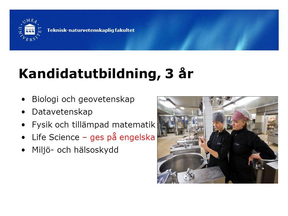 Teknisk-naturvetenskaplig fakultet Kandidatutbildning, 3 år Biologi och geovetenskap Datavetenskap Fysik och tillämpad matematik Life Science – ges på