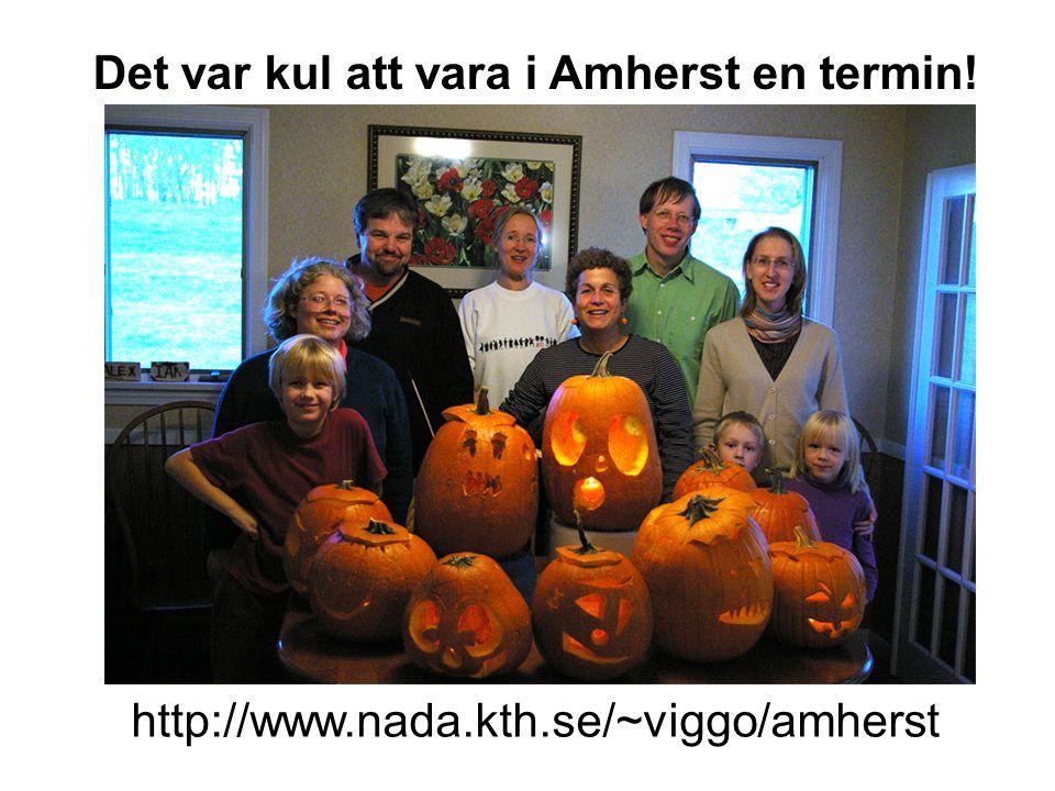 Det var kul att vara i Amherst en termin! http://www.nada.kth.se/~viggo/amherst