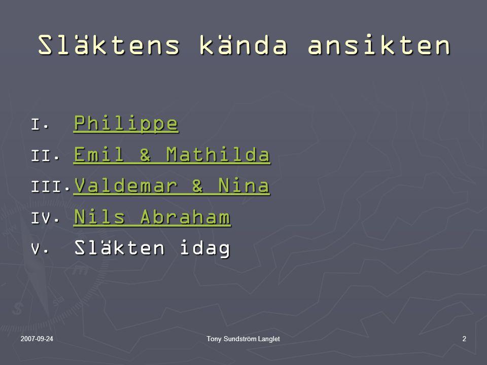 2007-09-24Tony Sundström Langlet2 Släktens kända ansikten  Philippe Philippe  Emil & Mathilda Emil & Mathilda Emil & Mathilda  Valdemar & Nin