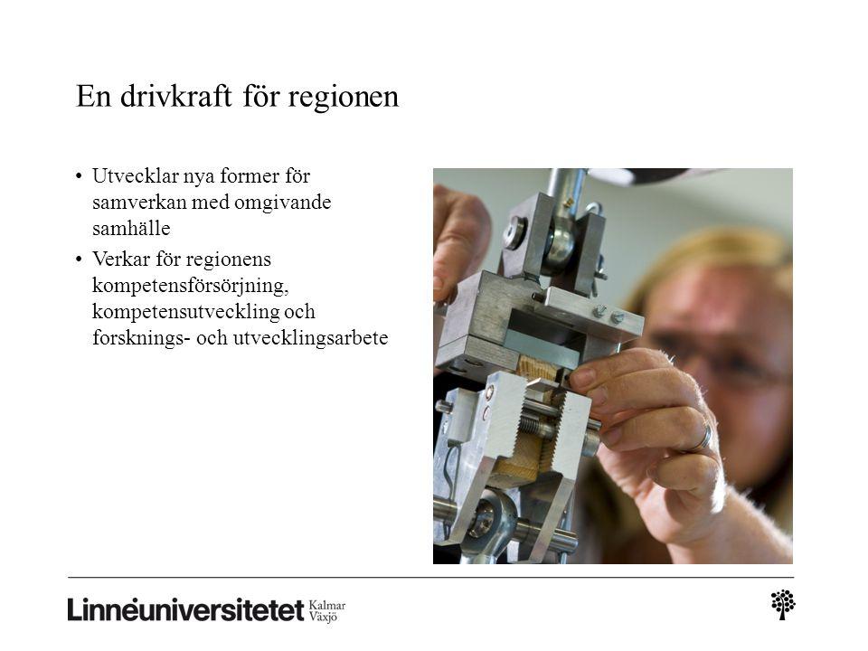 En drivkraft för regionen Utvecklar nya former för samverkan med omgivande samhälle Verkar för regionens kompetensförsörjning, kompetensutveckling och forsknings- och utvecklingsarbete