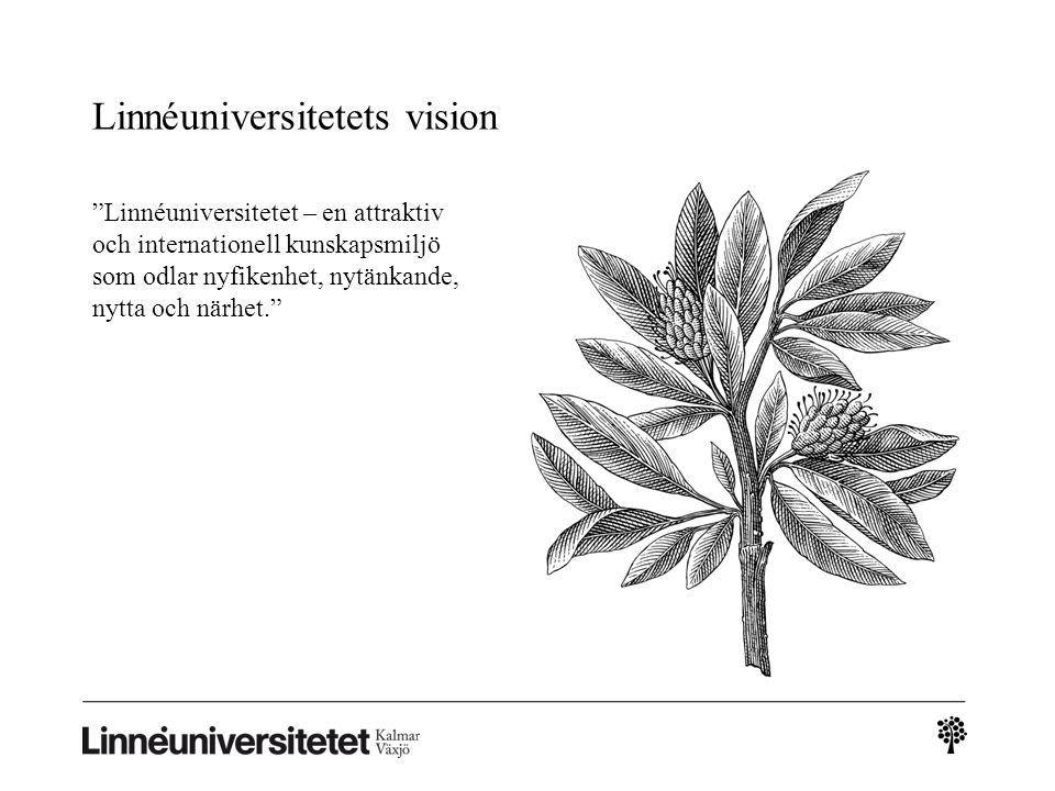 """Linnéuniversitetets vision """"Linnéuniversitetet – en attraktiv och internationell kunskapsmiljö som odlar nyfikenhet, nytänkande, nytta och närhet."""""""