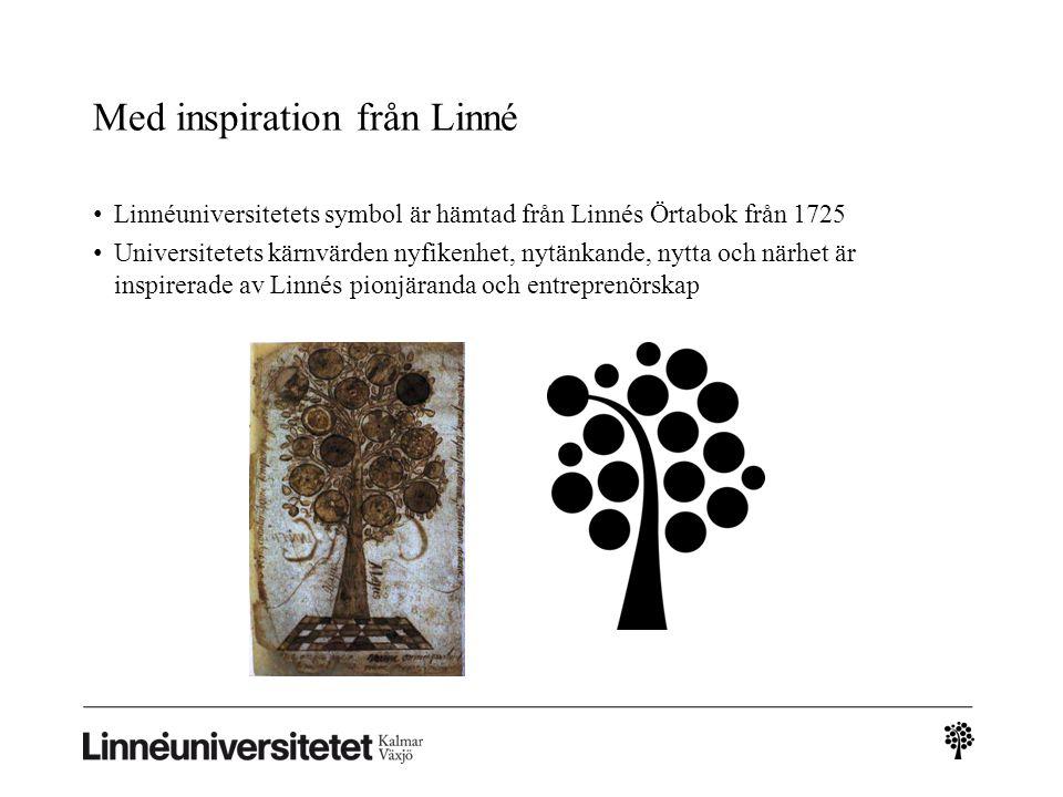 Med inspiration från Linné Linnéuniversitetets symbol är hämtad från Linnés Örtabok från 1725 Universitetets kärnvärden nyfikenhet, nytänkande, nytta och närhet är inspirerade av Linnés pionjäranda och entreprenörskap