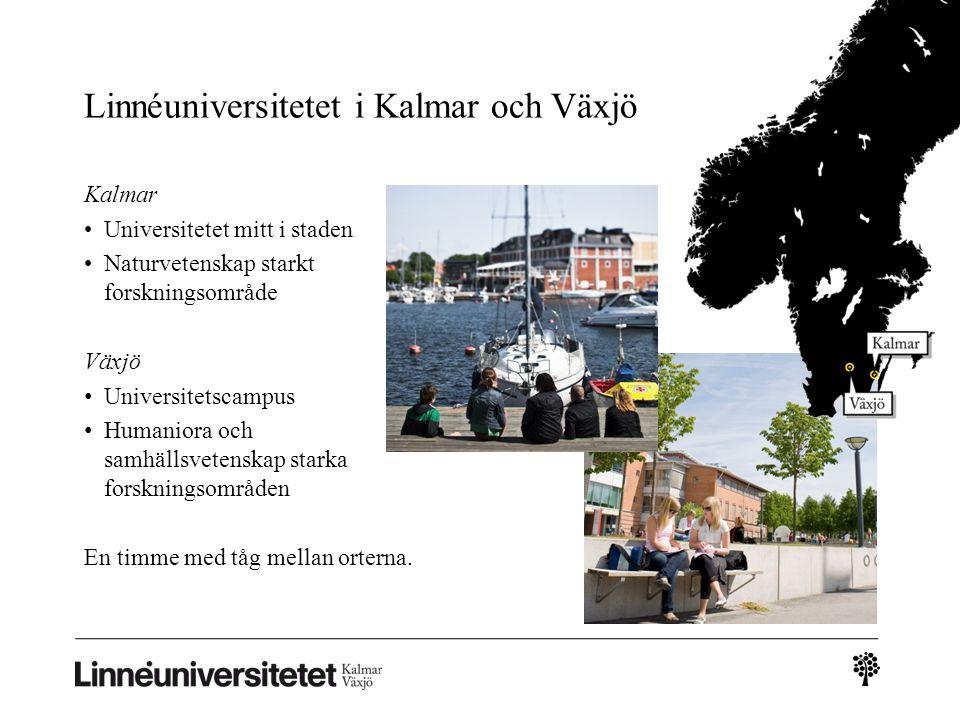 Linnéuniversitetet i Kalmar och Växjö Kalmar Universitetet mitt i staden Naturvetenskap starkt forskningsområde Växjö Universitetscampus Humaniora och samhällsvetenskap starka forskningsområden En timme med tåg mellan orterna.