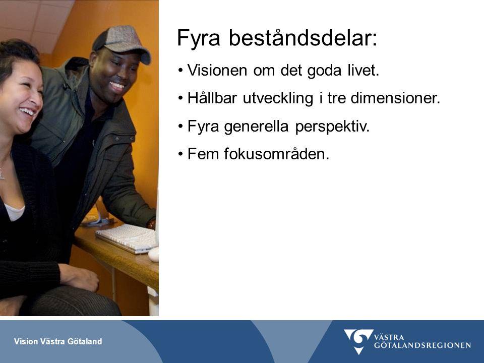 Vision Västra Götaland Fyra beståndsdelar: Visionen om det goda livet.
