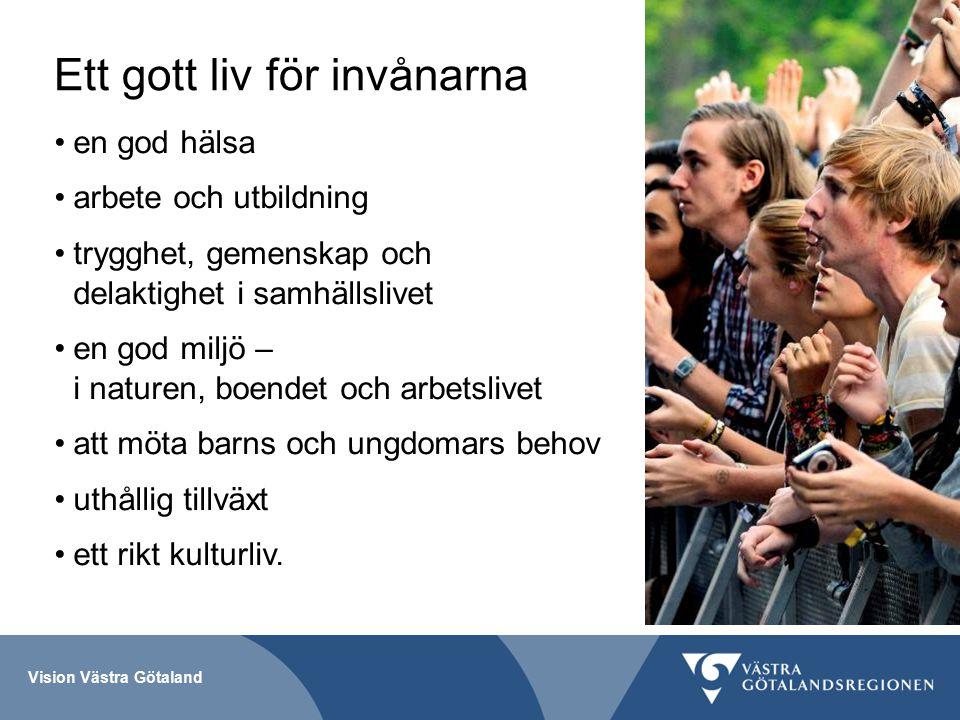 Vision Västra Götaland Ett gott liv för invånarna en god hälsa arbete och utbildning trygghet, gemenskap och delaktighet i samhällslivet en god miljö – i naturen, boendet och arbetslivet att möta barns och ungdomars behov uthållig tillväxt ett rikt kulturliv.