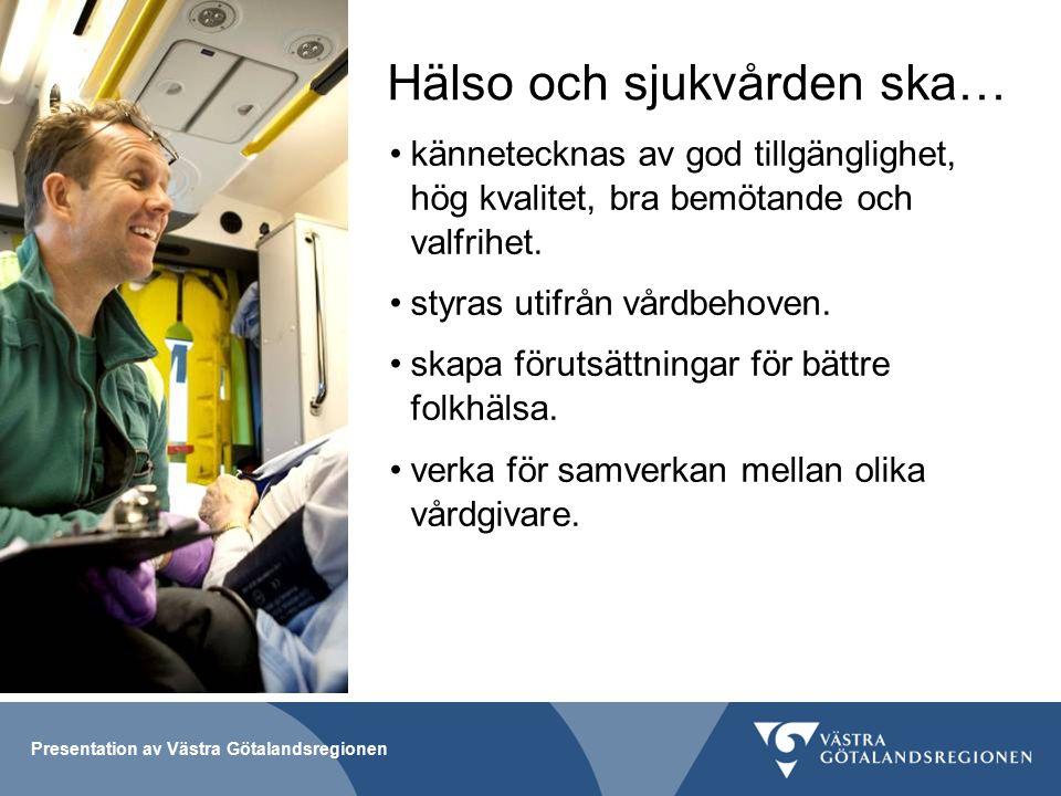 Presentation av Västra Götalandsregionen Hälso och sjukvården ska… kännetecknas av god tillgänglighet, hög kvalitet, bra bemötande och valfrihet.