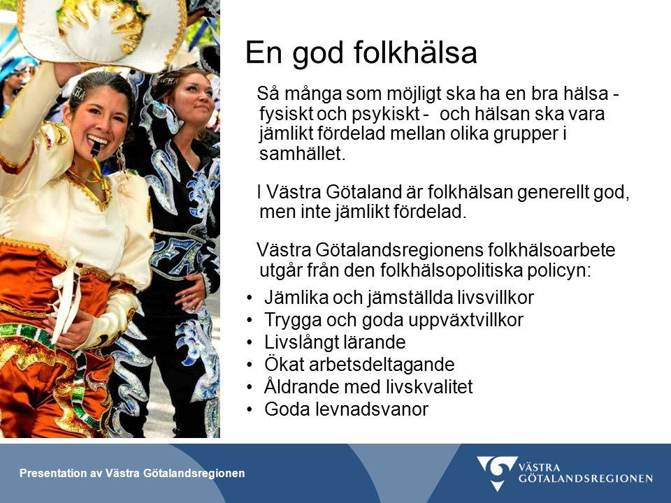 Presentation av Västra Götalandsregionen En god folkhälsa Så många som möjligt ska ha en bra hälsa - fysiskt och psykiskt - och hälsan ska vara jämlikt fördelad mellan olika grupper i samhället.