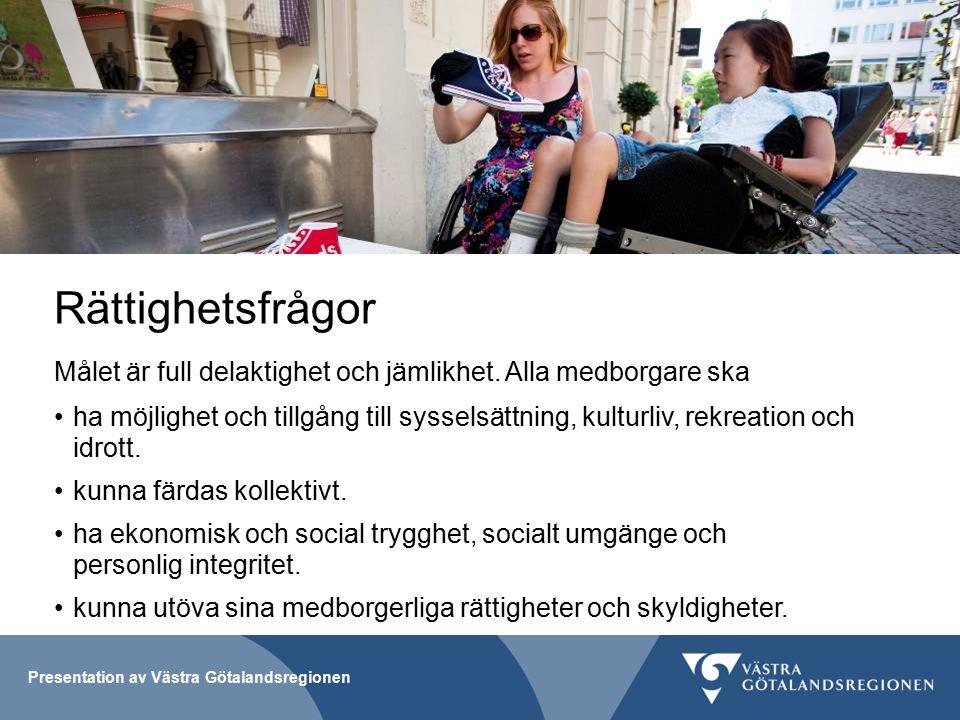 Presentation av Västra Götalandsregionen Rättighetsfrågor Målet är full delaktighet och jämlikhet.