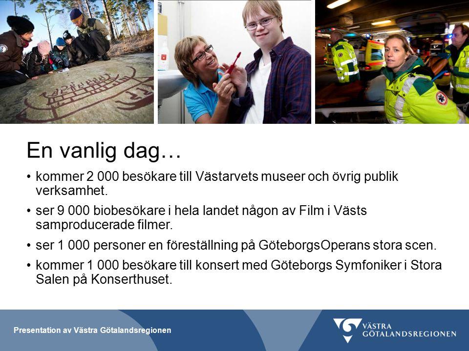Presentation av Västra Götalandsregionen En vanlig dag… kommer 2 000 besökare till Västarvets museer och övrig publik verksamhet.