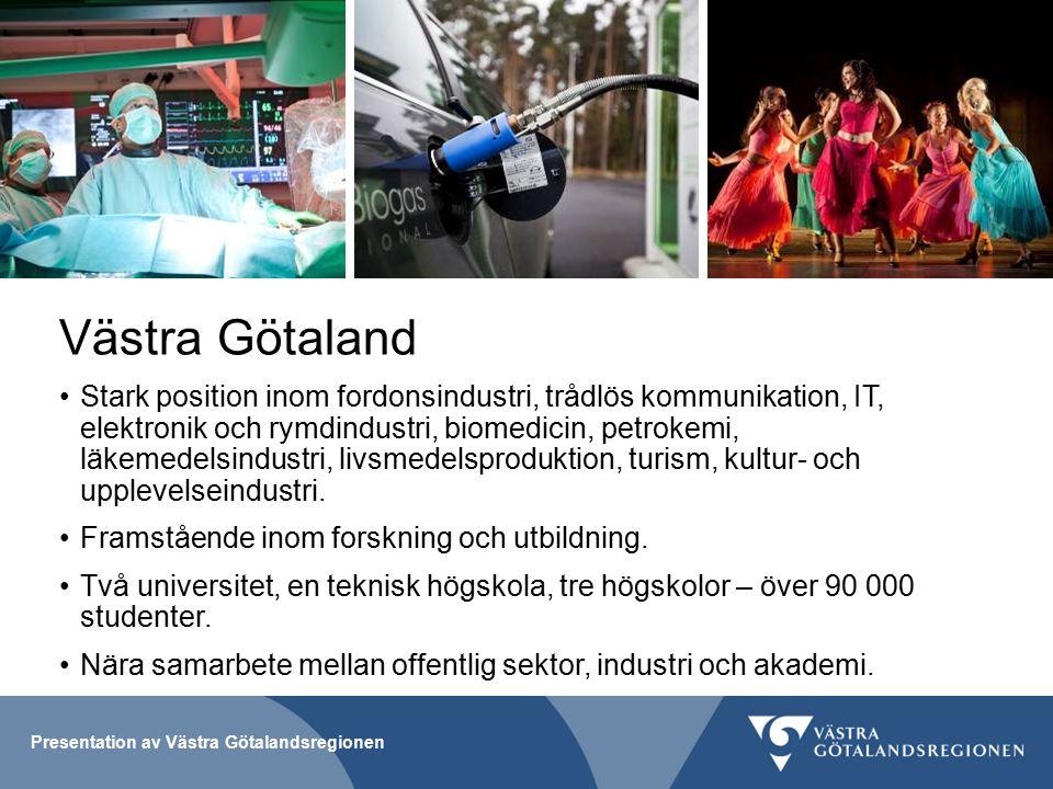 Presentation av Västra Götalandsregionen Västra Götaland Stark position inom fordonsindustri, trådlös kommunikation, IT, elektronik och rymdindustri, biomedicin, petrokemi, läkemedelsindustri, livsmedelsproduktion, turism, kultur- och upplevelseindustri.