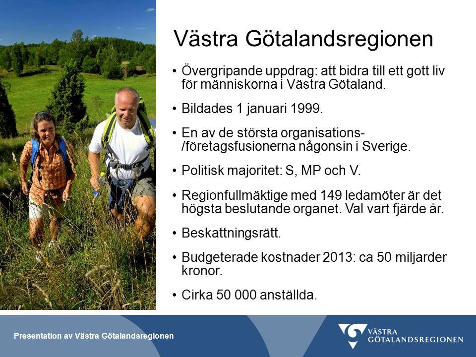 Presentation av Västra Götalandsregionen Västra Götalandsregionen Övergripande uppdrag: att bidra till ett gott liv för människorna i Västra Götaland.