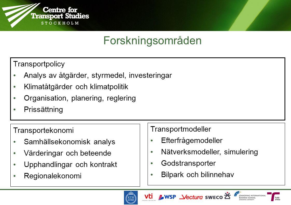 Forskningsområden Transportpolicy Analys av åtgärder, styrmedel, investeringar Klimatåtgärder och klimatpolitik Organisation, planering, reglering Prissättning Transportekonomi Samhällsekonomisk analys Värderingar och beteende Upphandlingar och kontrakt Regionalekonomi Transportmodeller Efterfrågemodeller Nätverksmodeller, simulering Godstransporter Bilpark och bilinnehav