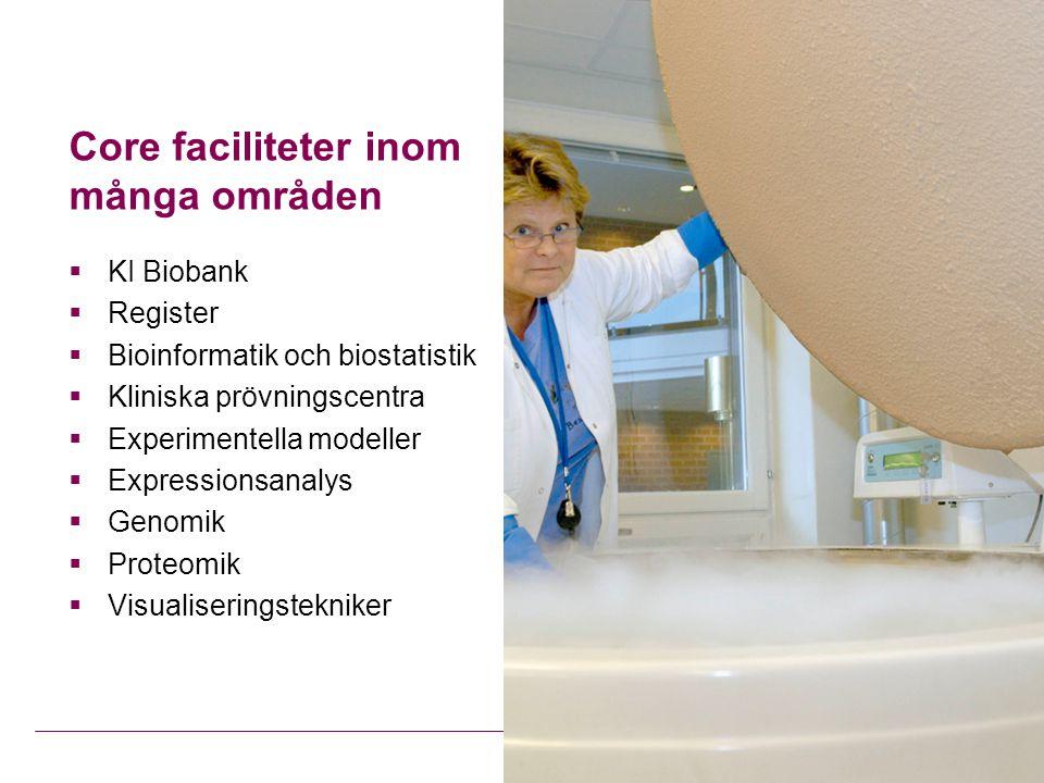 Core faciliteter inom många områden  KI Biobank  Register  Bioinformatik och biostatistik  Kliniska prövningscentra  Experimentella modeller  Expressionsanalys  Genomik  Proteomik  Visualiseringstekniker