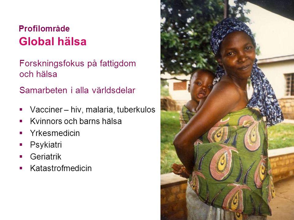  Vacciner – hiv, malaria, tuberkulos  Kvinnors och barns hälsa  Yrkesmedicin  Psykiatri  Geriatrik  Katastrofmedicin Profilområde Global hälsa Forskningsfokus på fattigdom och hälsa Samarbeten i alla världsdelar