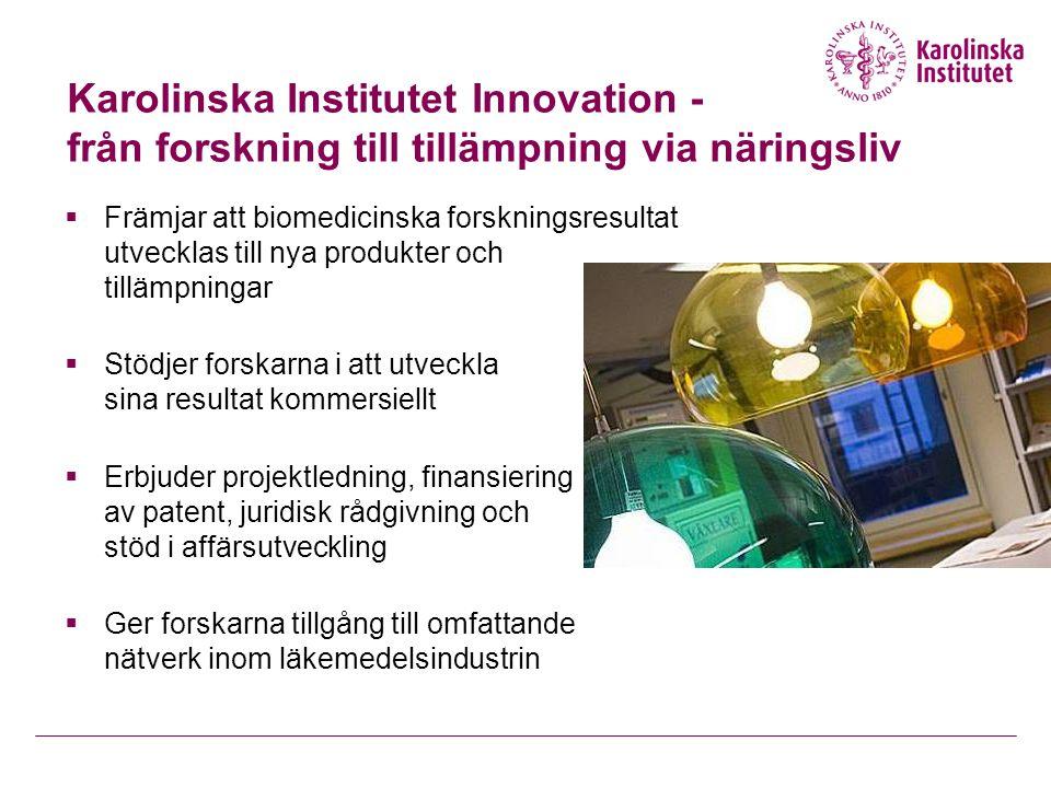Karolinska Institutet Innovation - från forskning till tillämpning via näringsliv  Främjar att biomedicinska forskningsresultat utvecklas till nya produkter och tillämpningar  Stödjer forskarna i att utveckla sina resultat kommersiellt  Erbjuder projektledning, finansiering av patent, juridisk rådgivning och stöd i affärsutveckling  Ger forskarna tillgång till omfattande nätverk inom läkemedelsindustrin