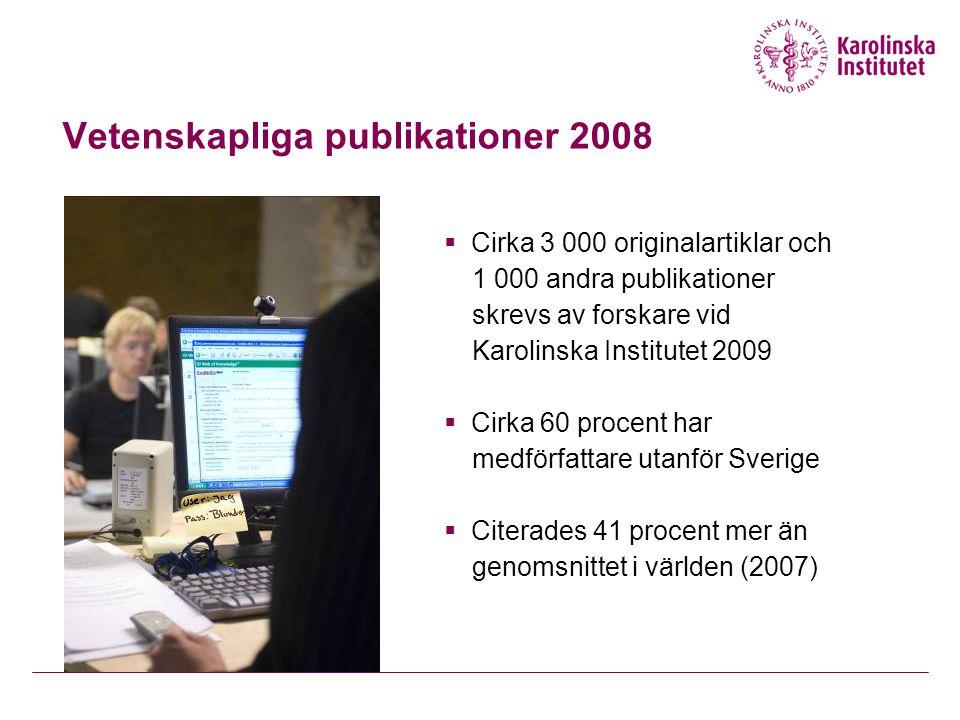 Vetenskapliga publikationer 2008  Cirka 3 000 originalartiklar och 1 000 andra publikationer skrevs av forskare vid Karolinska Institutet 2009  Cirka 60 procent har medförfattare utanför Sverige  Citerades 41 procent mer än genomsnittet i världen (2007)