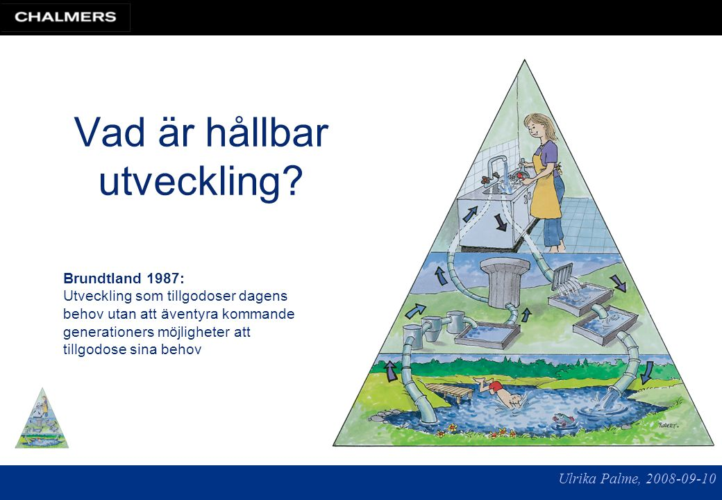 Ulrika Palme, 2008-09-10 Tidshorisont ~ 100 år Mål: social välfärd Medel: teknik och ekonomi Grund och begränsning: naturen Vad är hållbar utveckling.