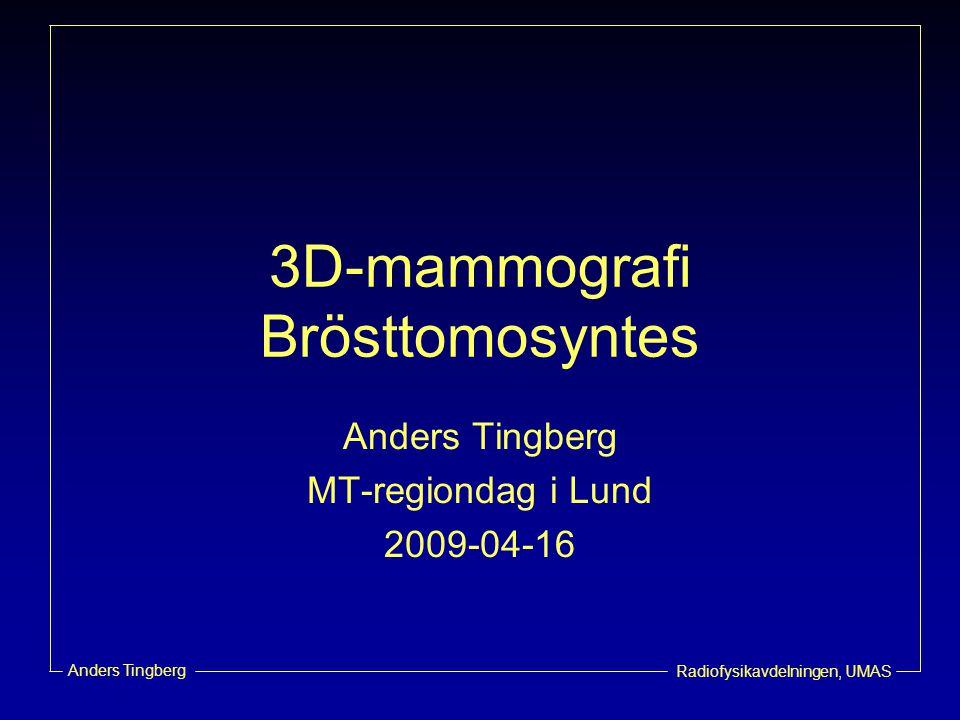 Radiofysikavdelningen, UMAS Anders Tingberg Tomosyntes  Tomo = tomografi –Tomos (gr.) - avskuret stycke –Graphia (gr.) - skriva –Radiologisk metod att avbilda skikt i en kroppsdel eller ett organ.