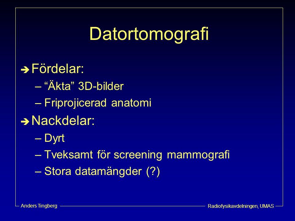 """Radiofysikavdelningen, UMAS Anders Tingberg Datortomografi  Fördelar: –""""Äkta"""" 3D-bilder –Friprojicerad anatomi  Nackdelar: –Dyrt –Tveksamt för scree"""