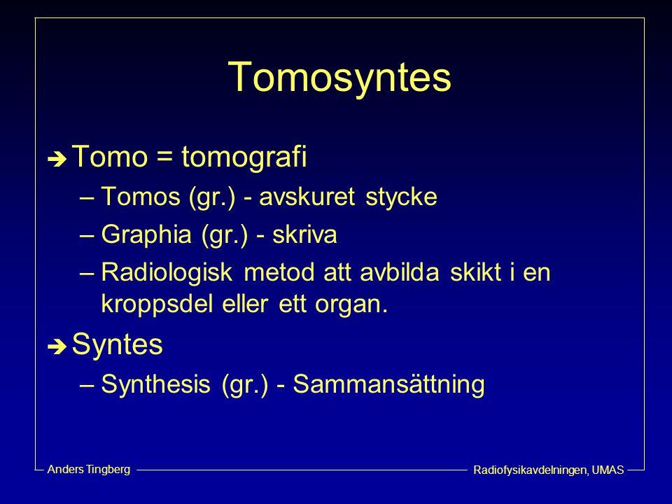 Radiofysikavdelningen, UMAS Anders Tingberg Tomosyntes  Tomo = tomografi –Tomos (gr.) - avskuret stycke –Graphia (gr.) - skriva –Radiologisk metod at