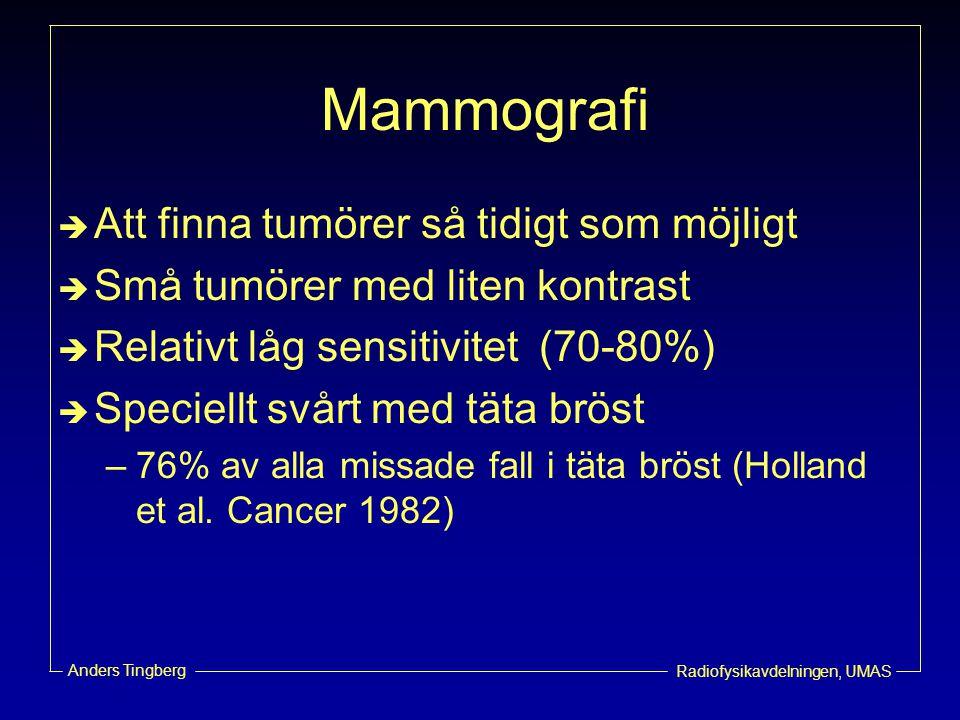 Radiofysikavdelningen, UMAS Anders Tingberg Mammografi  Att finna tumörer så tidigt som möjligt  Små tumörer med liten kontrast  Relativt låg sensi