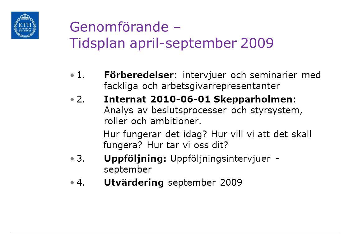 Genomförande – Tidsplan april-september 2009 1. Förberedelser: intervjuer och seminarier med fackliga och arbetsgivarrepresentanter 2. Internat 2010-0