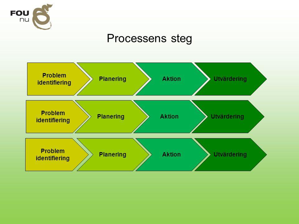 Processens steg Problem identifiering PlaneringAktionUtvärdering Problem identifiering Planering Problem identifiering Aktion Utvärdering