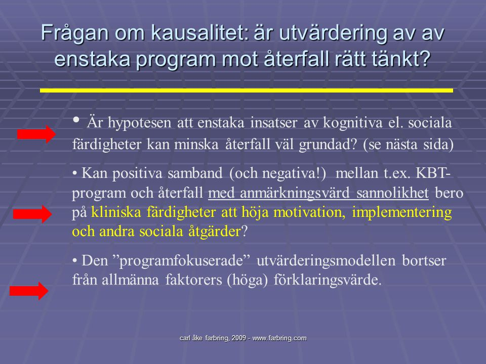 carl åke farbring, 2009 - www.farbring.com Frågan om kausalitet: är utvärdering av av enstaka program mot återfall rätt tänkt? Är hypotesen att enstak