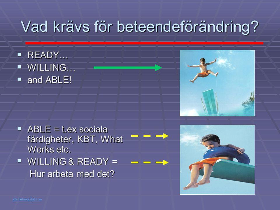 Vad krävs för beteendeförändring?  READY…  WILLING…  and ABLE!  ABLE = t.ex sociala färdigheter, KBT, What Works etc.  WILLING & READY = Hur arbe