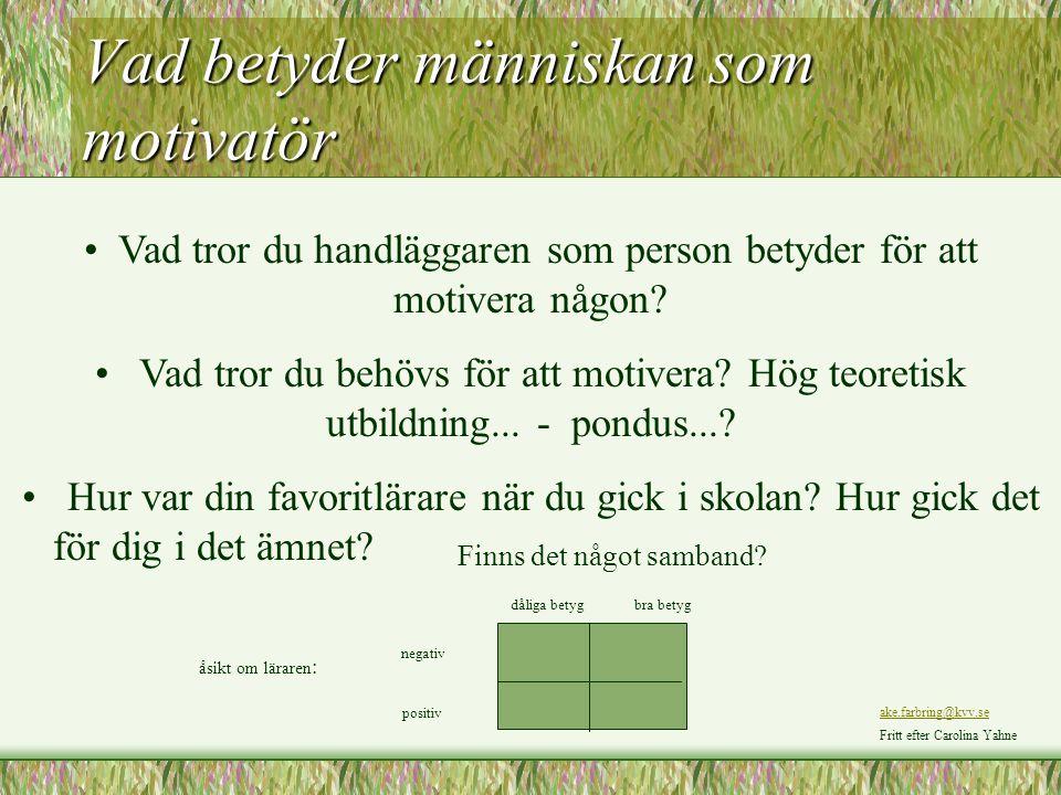 Vad betyder människan som motivatör Vad tror du handläggaren som person betyder för att motivera någon? Vad tror du behövs för att motivera? Hög teore