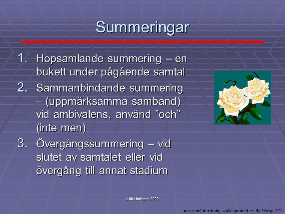 c åke farbring, 2009 Summeringar 1. Hopsamlande summering – en bukett under pågående samtal 2. Sammanbindande summering – (uppmärksamma samband) vid a