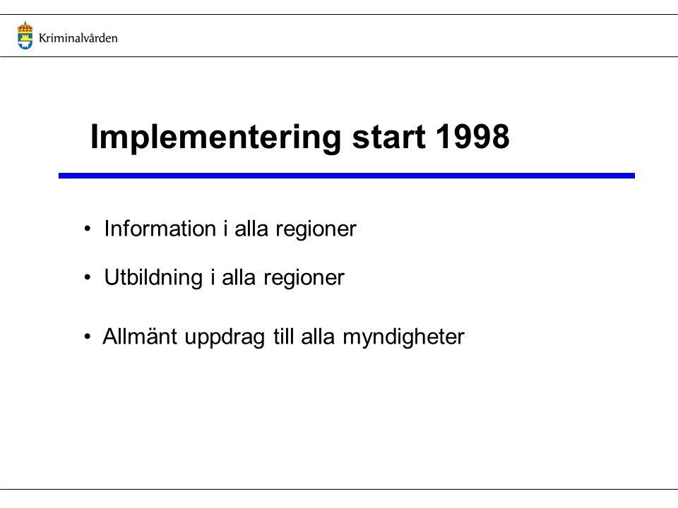 Implementering start 1998 Information i alla regioner Utbildning i alla regioner Allmänt uppdrag till alla myndigheter