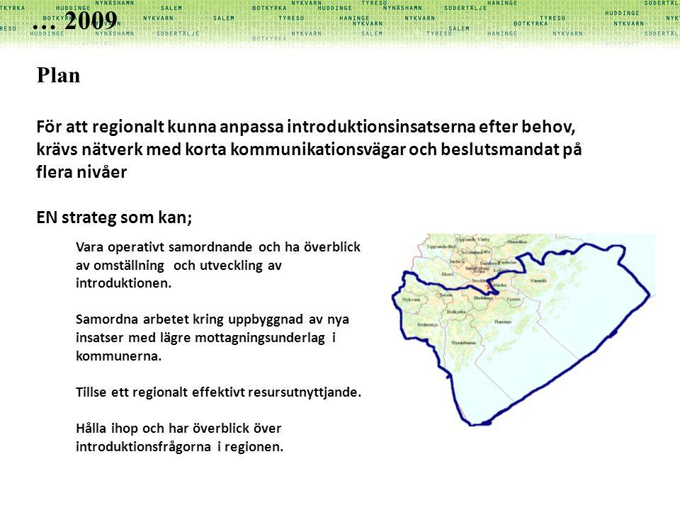 Plan För att regionalt kunna anpassa introduktionsinsatserna efter behov, krävs nätverk med korta kommunikationsvägar och beslutsmandat på flera nivåe