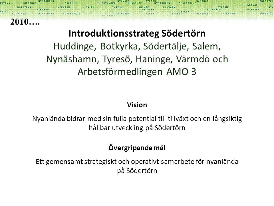 Introduktionsstrateg Södertörn Huddinge, Botkyrka, Södertälje, Salem, Nynäshamn, Tyresö, Haninge, Värmdö och Arbetsförmedlingen AMO 3 Vision Nyanlända