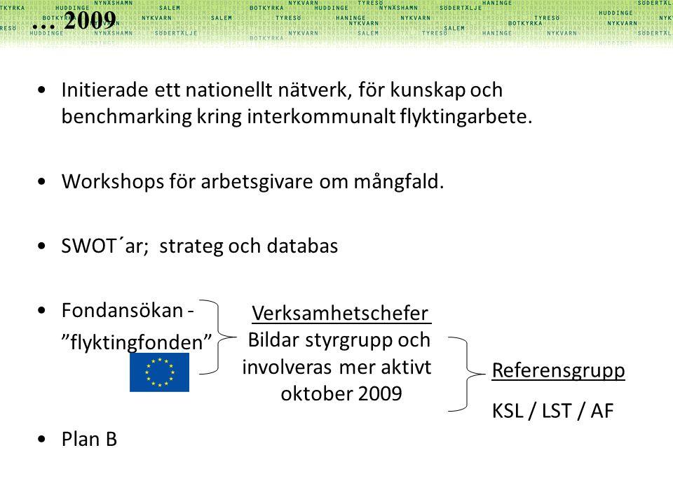 Initierade ett nationellt nätverk, för kunskap och benchmarking kring interkommunalt flyktingarbete. Workshops för arbetsgivare om mångfald. SWOT´ar;