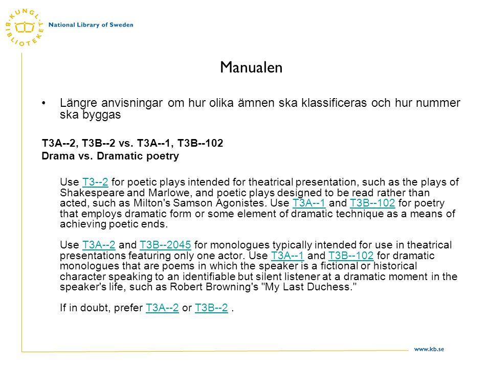 www.kb.se Manualen Längre anvisningar om hur olika ämnen ska klassificeras och hur nummer ska byggas T3A--2, T3B--2 vs. T3A--1, T3B--102 Drama vs. Dra