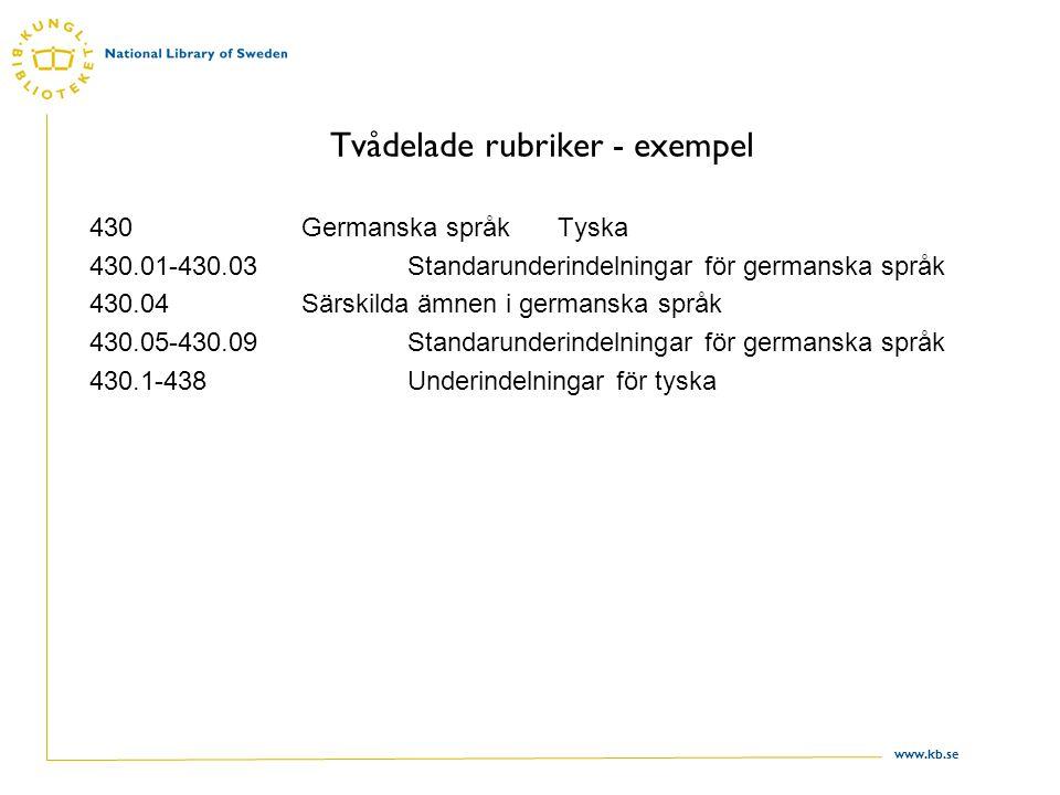 www.kb.se Tvådelade rubriker - exempel 430Germanska språk Tyska 430.01-430.03Standarunderindelningar för germanska språk 430.04Särskilda ämnen i germanska språk 430.05-430.09Standarunderindelningar för germanska språk 430.1-438Underindelningar för tyska